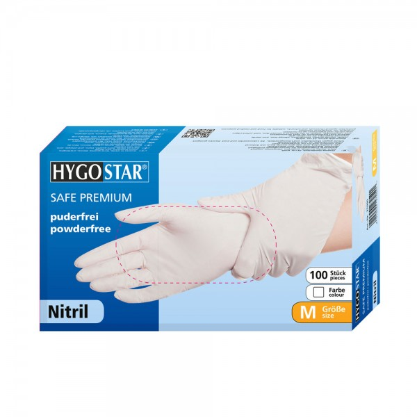 Nitril-Handschuhe Hygostar Safe Premium - puderfrei - Gr. L - VE 100 Stück
