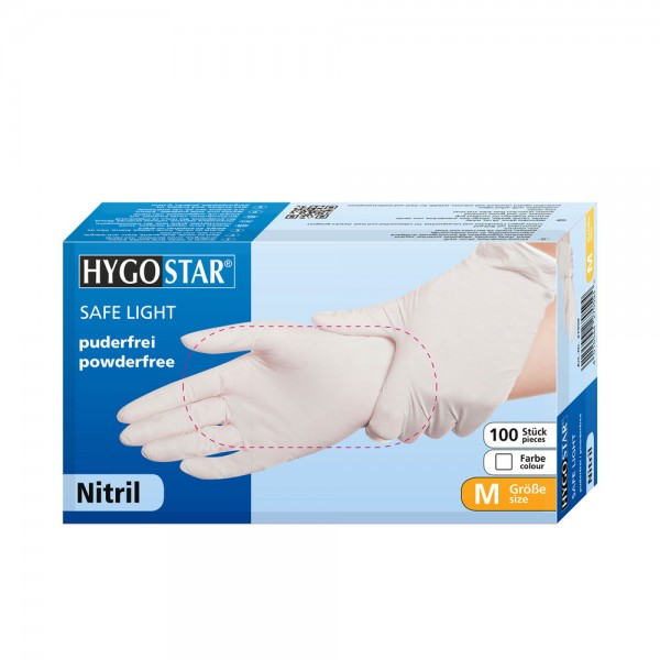 Nitril-Handschuhe Hygostar Safe Light - puderfrei - Gr. S - VE 100 Stück