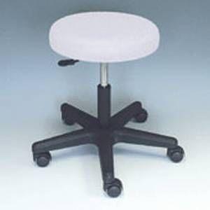 Rollhocker - weißer Sitz - schwarze Säule und Fußkreuz